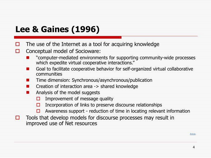 Lee & Gaines (1996)