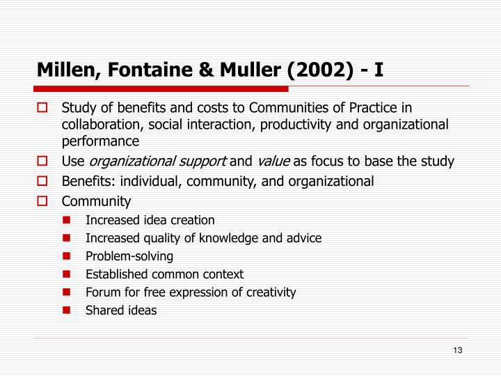 Millen, Fontaine & Muller (2002) - I
