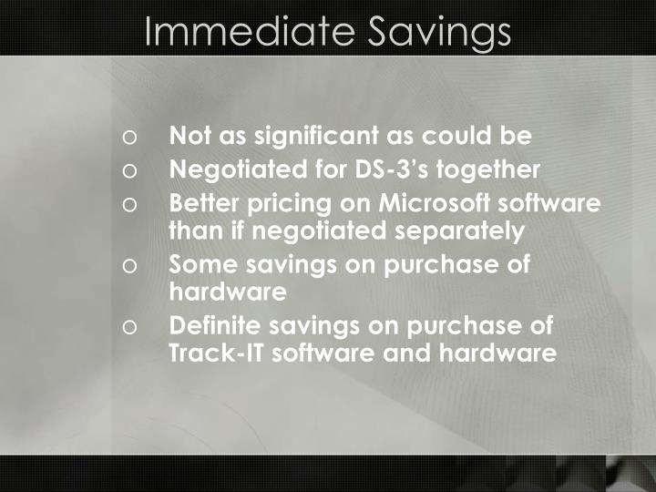 Immediate Savings