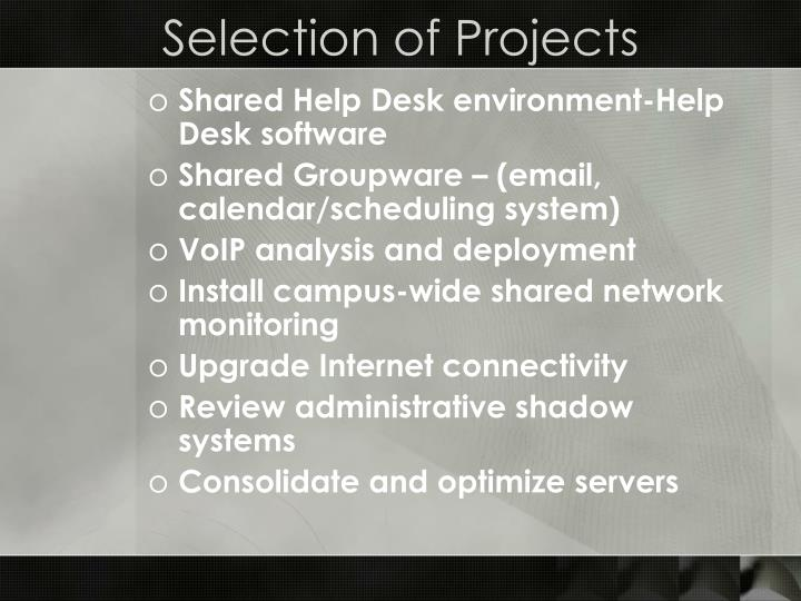 Selection of Projects