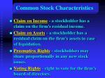 common stock characteristics