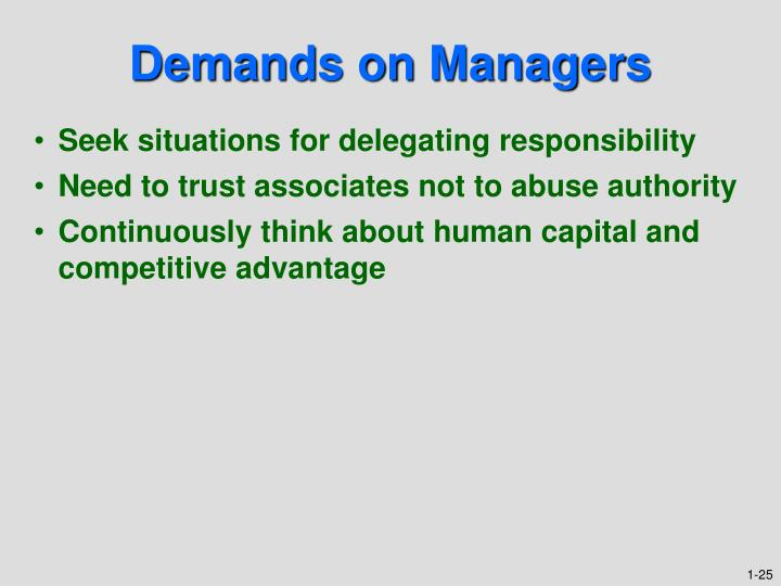 Demands on Managers