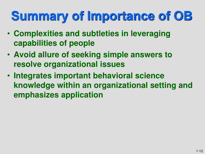 Summary of Importance of OB