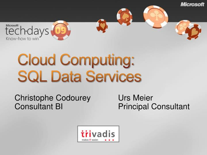 Cloud computing sql data services