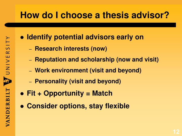 How do I choose a thesis advisor?