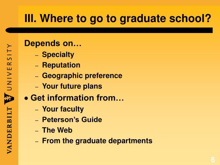 III. Where to go to graduate school?