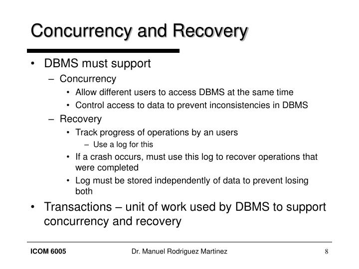 Concurrency and Recovery