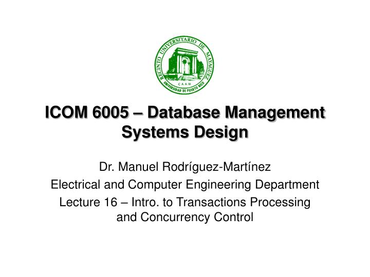 Icom 6005 database management systems design