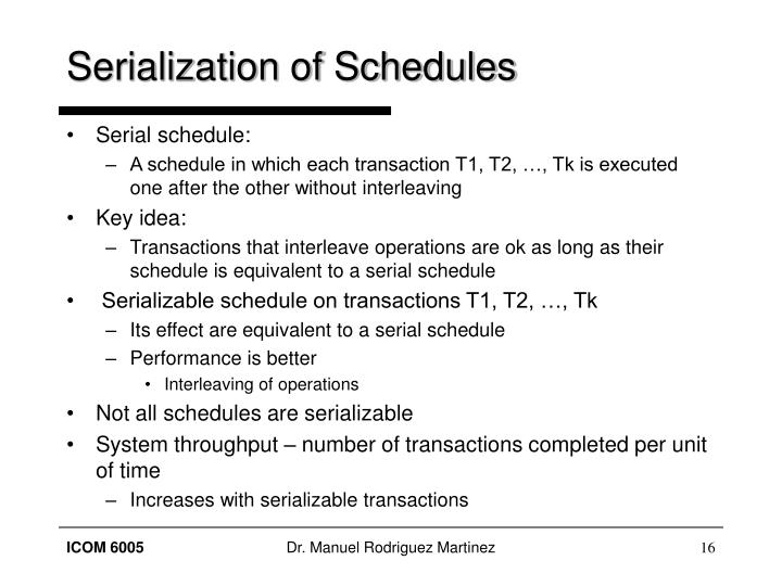 Serialization of Schedules