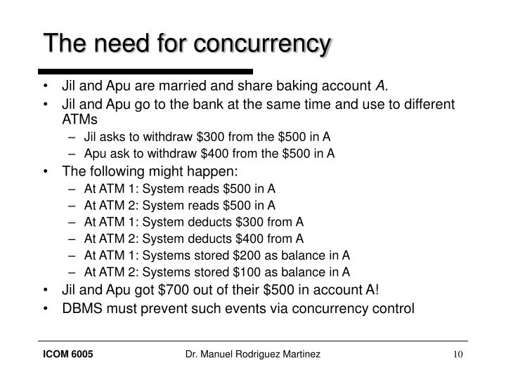 The need for concurrency