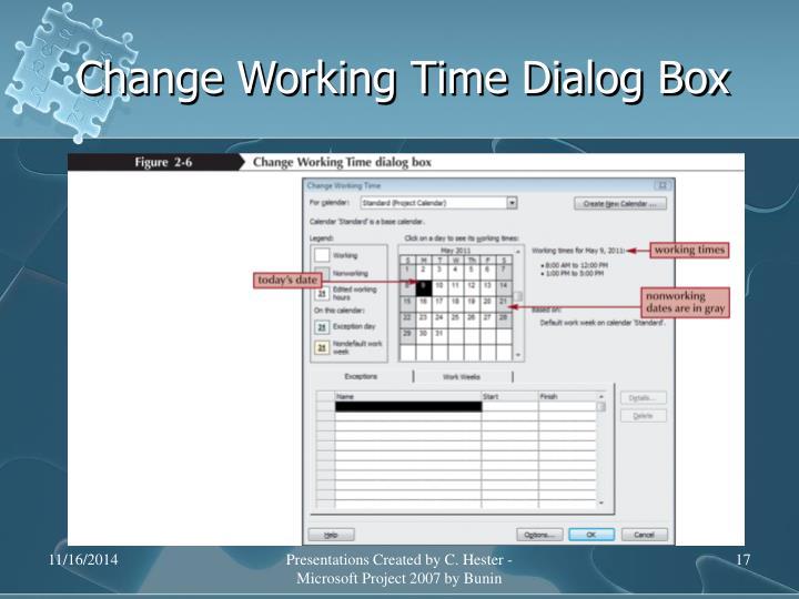 Change Working Time Dialog Box
