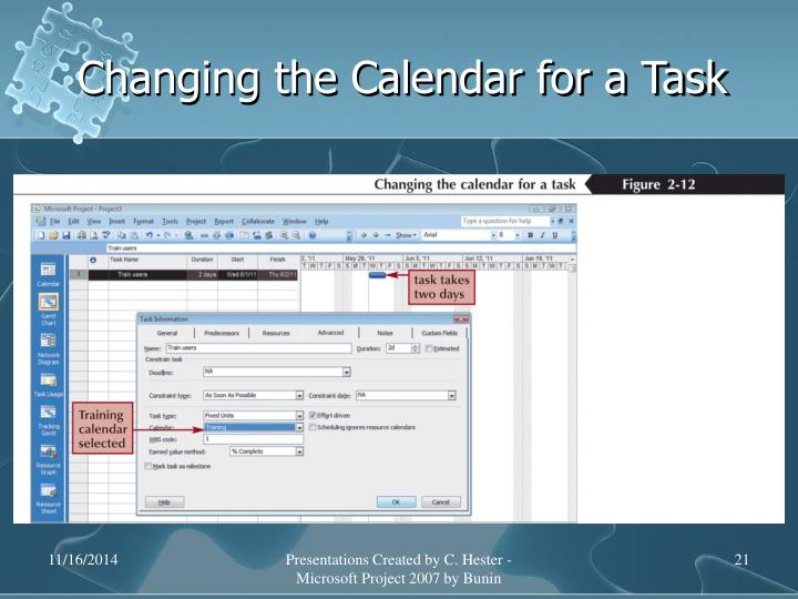 Changing the Calendar for a Task