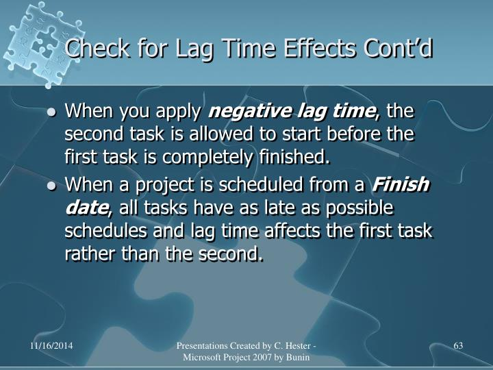 Check for Lag Time Effects Cont'd