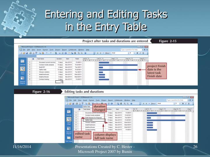 Entering and Editing Tasks