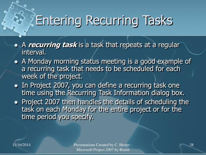 Entering Recurring Tasks