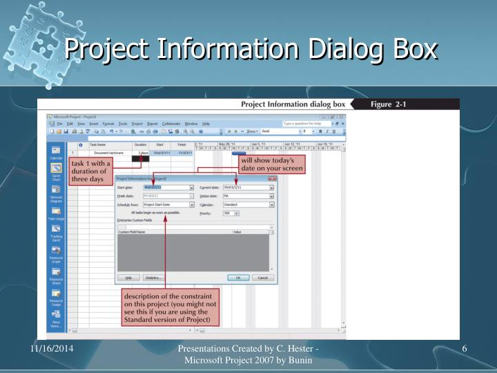 Project Information Dialog Box
