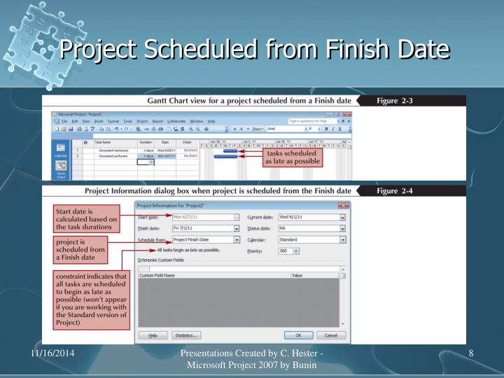 Project Scheduled from Finish Date