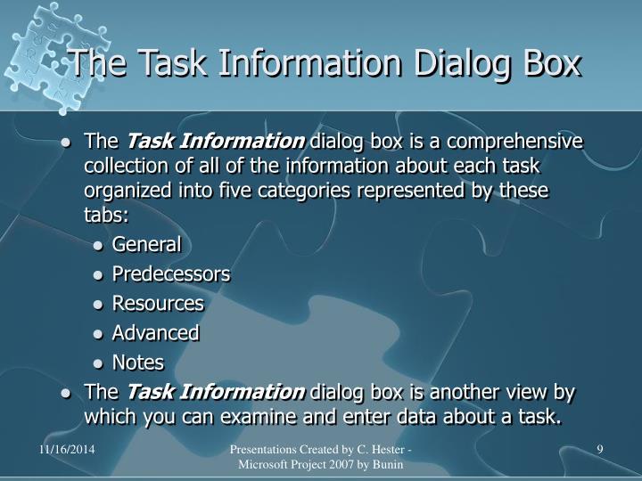 The Task Information Dialog Box