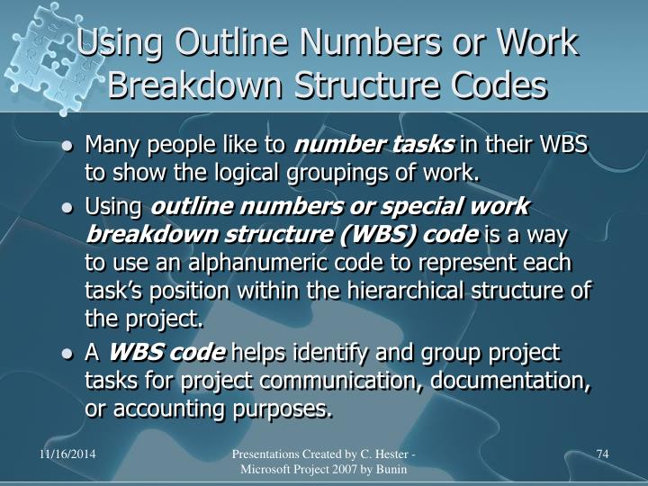 Using Outline Numbers or Work Breakdown Structure Codes