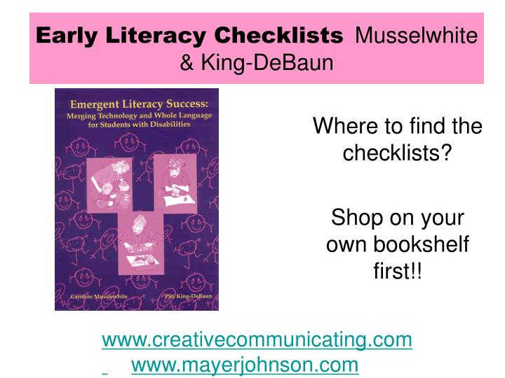 Early Literacy Checklists