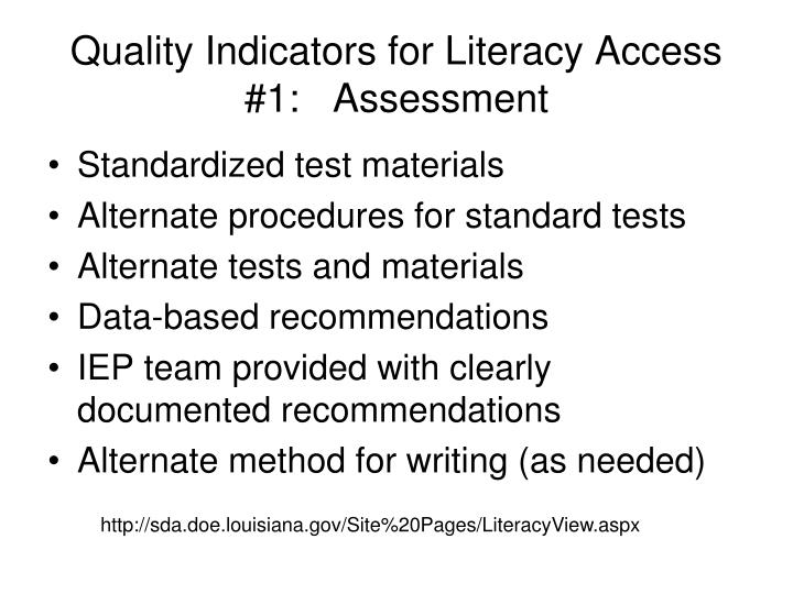 Quality Indicators for Literacy Access