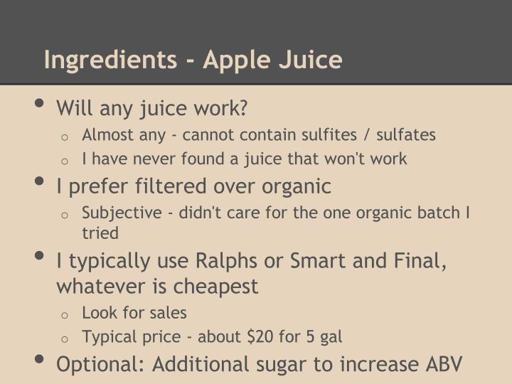 Ingredients - Apple Juice