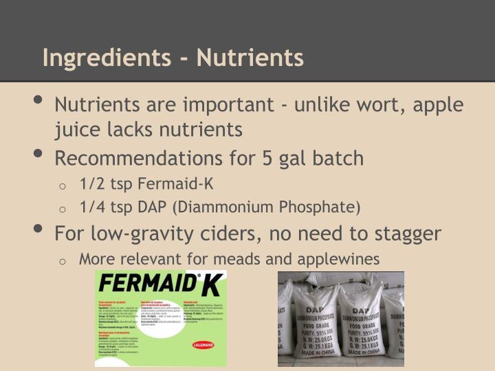Ingredients - Nutrients