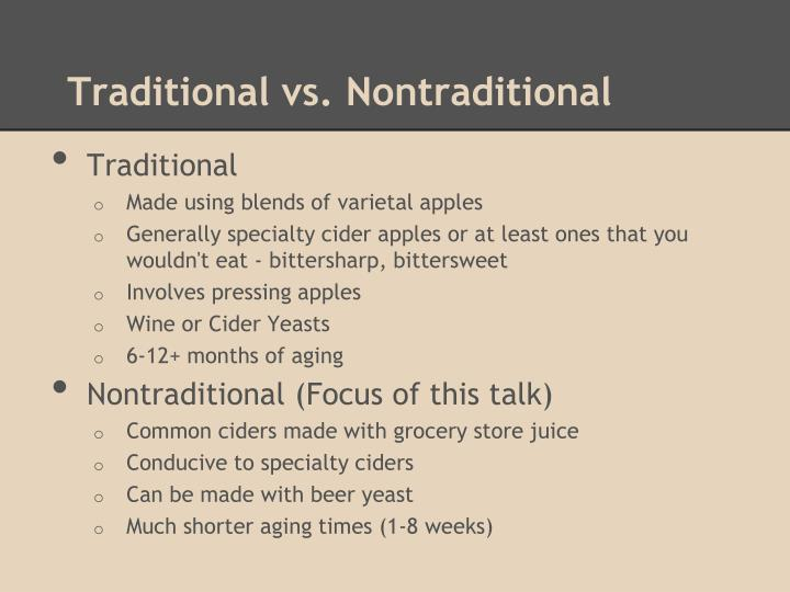 Traditional vs nontraditional