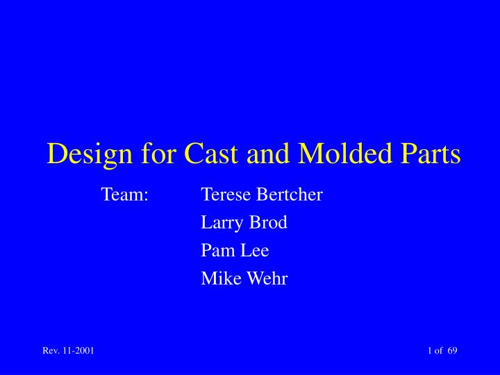design for cast and molded parts n.