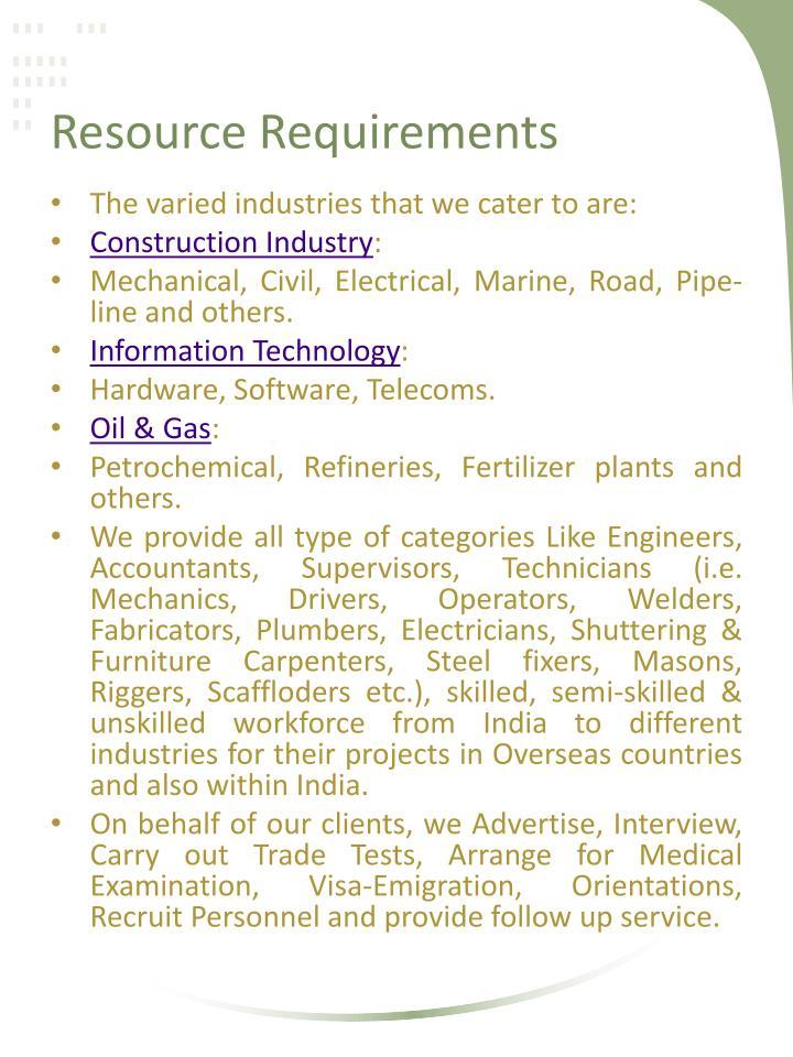 Resource Requirements