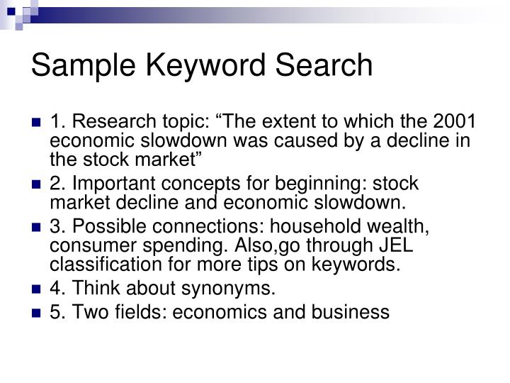 Sample Keyword Search
