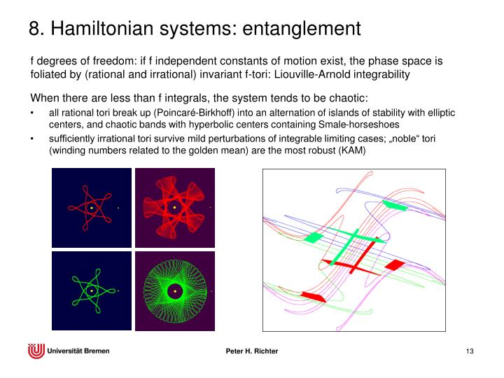 8. Hamiltonian systems: entanglement
