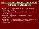 mass state colleges universities admission standards2