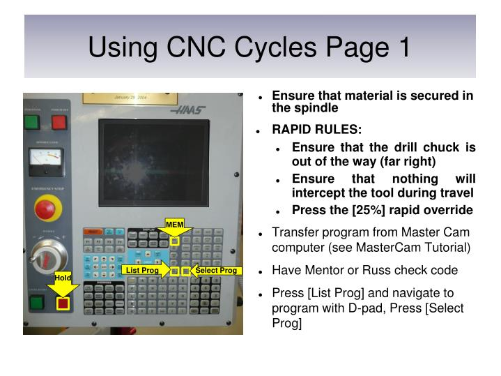 Using CNC Cycles Page 1