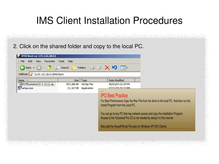 Ims client installation procedures1