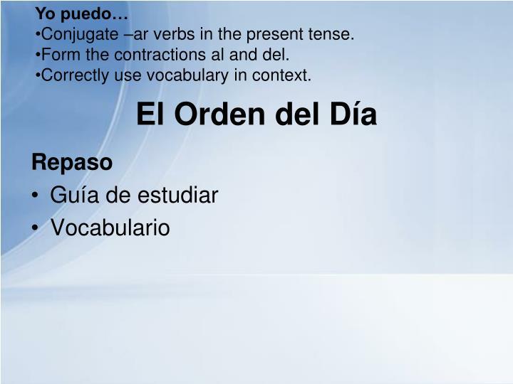 El orden del d a