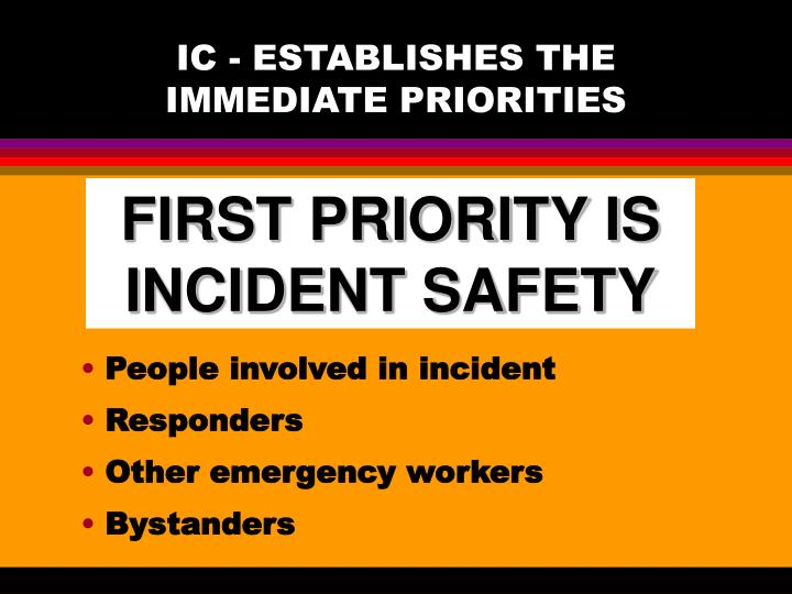 IC - ESTABLISHES THE IMMEDIATE PRIORITIES