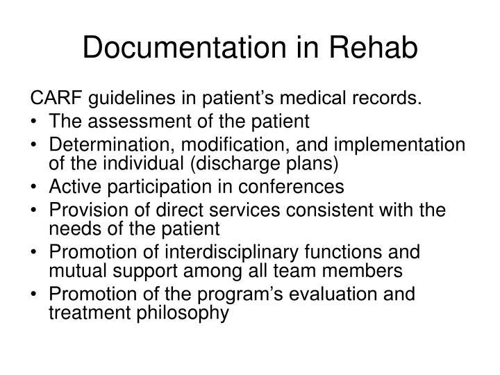 Documentation in Rehab