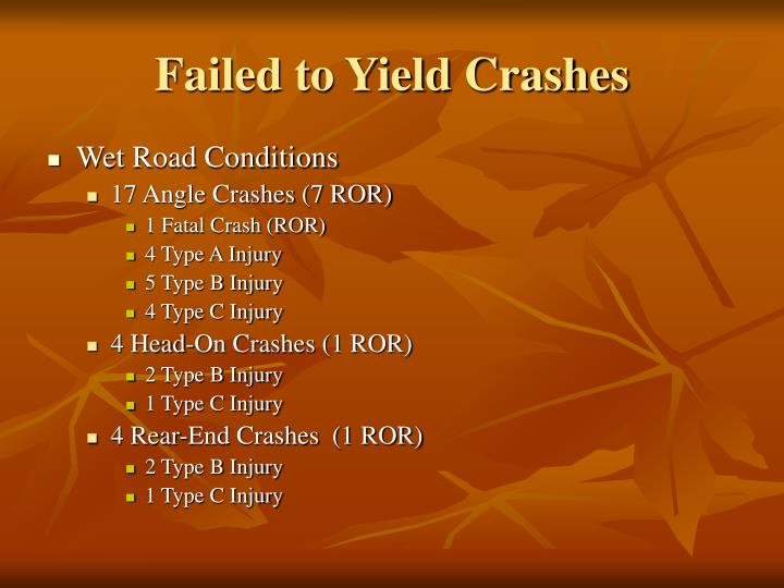 Failed to Yield Crashes