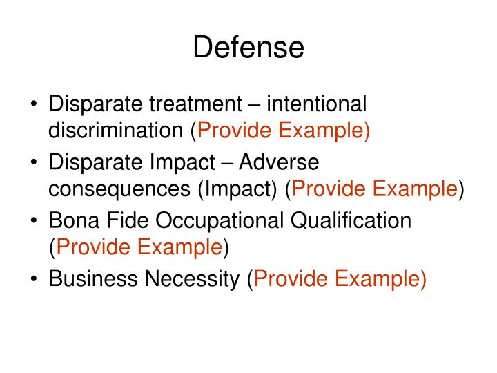 disparate impact disparate treatment essay Disparate treatment and adverse impact are broad categories of unlawful employment discrimination as established through various supreme court rulings the uniform guidelines on employee selection procedures established the concept of adverse impact.