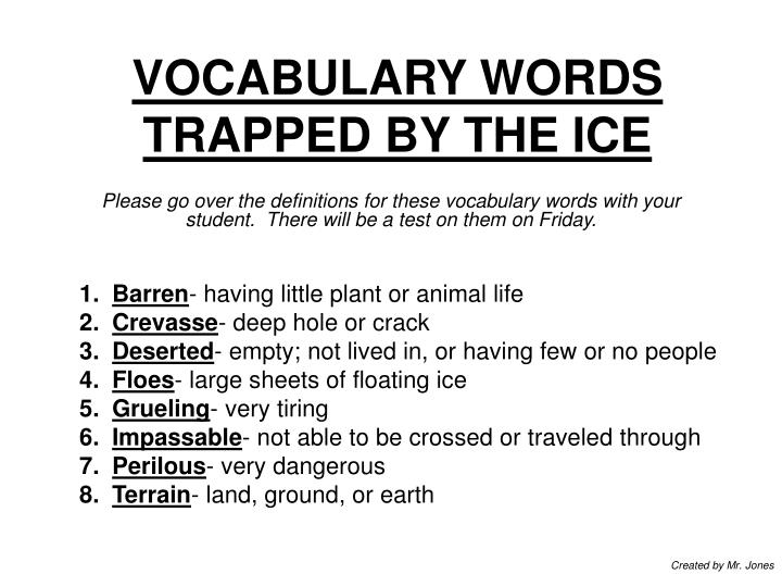 vocabulary words trapped by the ice n.