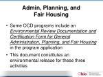 admin planning and fair housing