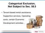categorical exclusion not subject to sec 58 5