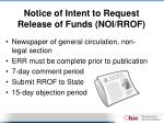 notice of intent to request release of funds noi rrof