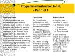 programmed instruction for pi part 1 of 4