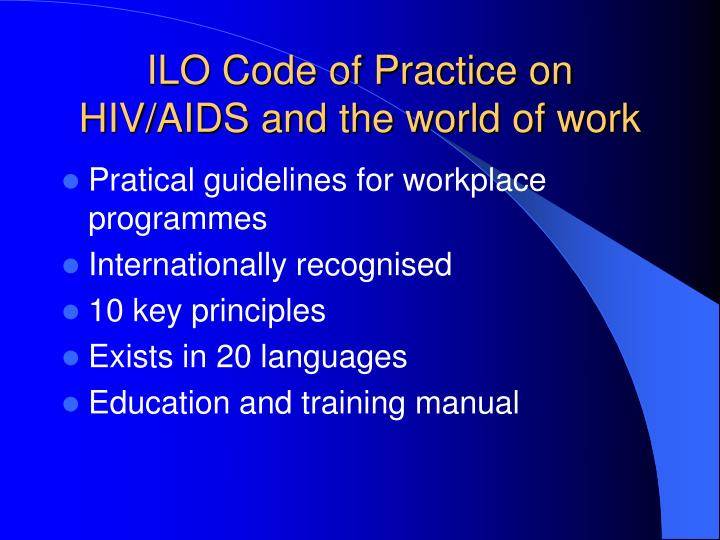 ILO Code of Practice on HIV/AIDS and the world of work