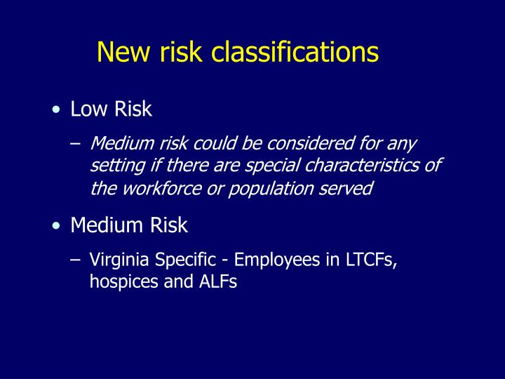 New risk classifications