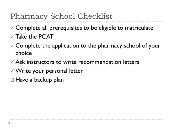 Pharmacy School Checklist