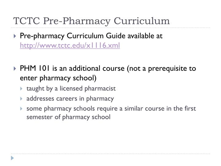 TCTC Pre-Pharmacy Curriculum