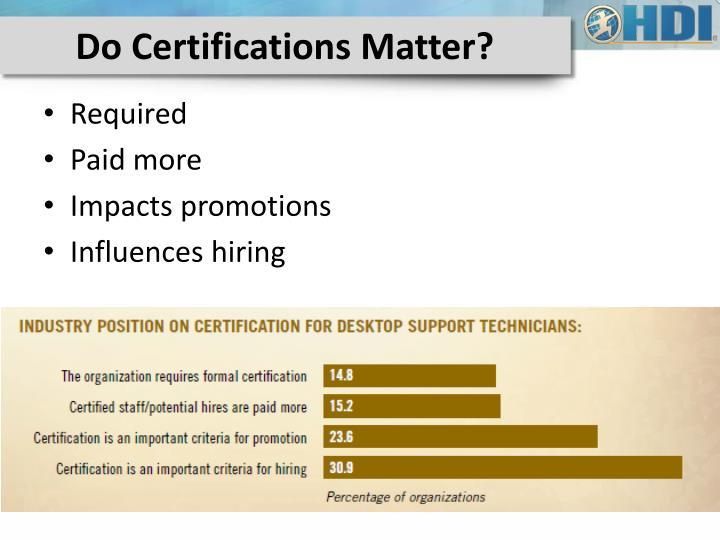 Do Certifications Matter?